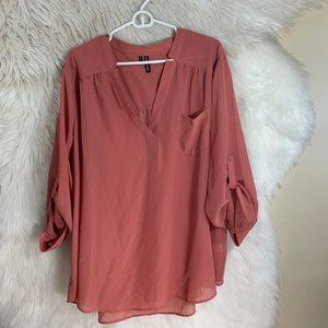 Maurices Plus Size 3X Salmon Pink Sheer Blouse